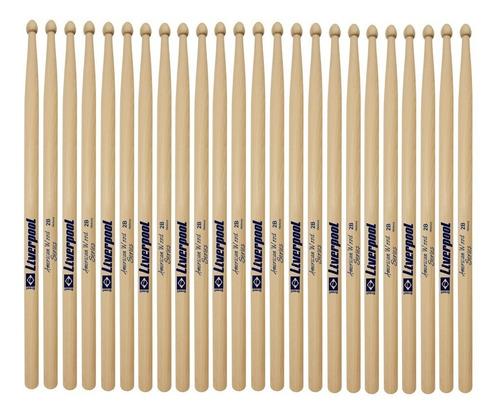 baqueta 2b hickory 12 pares ponta madeira liverpool hy 2bm