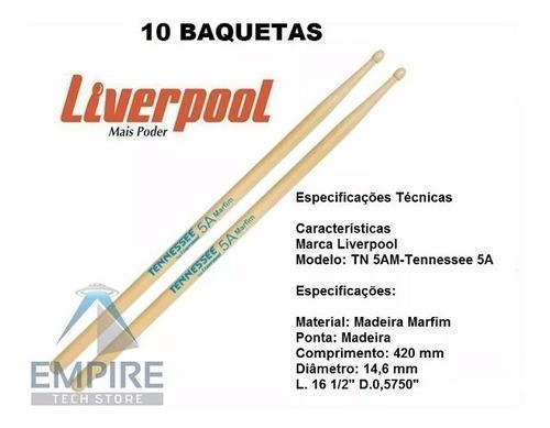 baqueta 5a marfim tennessee liverpool ponta madeira 5 pares