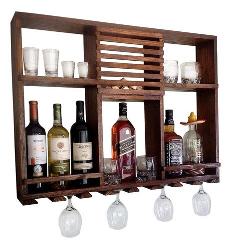 bar adega rústico artesanal de parede 8 garrafas art madeira