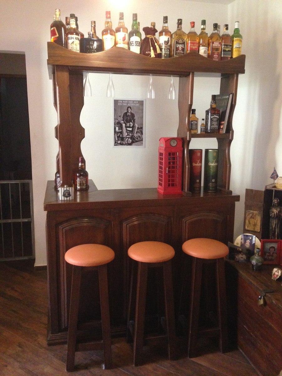 Bar adega sala de estar madeira maci a de lei c porta for Bar para casa rustico