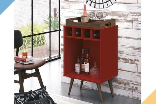 bar com bandeja pub - vermelho - edn móveis