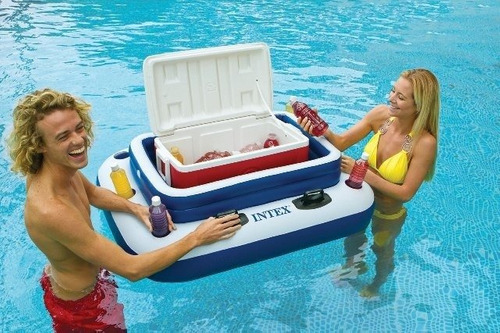 bar cooler flutuante intex grande 72 latas + bomba p/ inflar