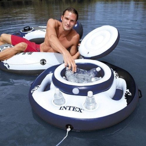 bar cooler inflável flutuante intex 24 latas + bomba inflar