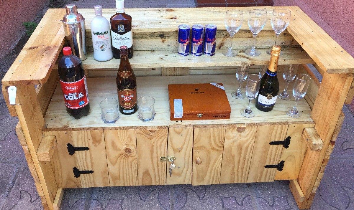 Bar de palets con puertas medidas 120x80x60 for Bar de madera mercadolibre