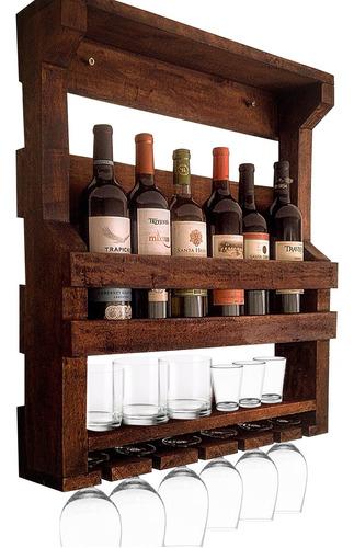 bar de parede adega artesanal madeira até 6 garrafas e taças
