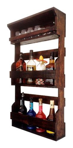 bar de parede rústico 8 garrafas com porta copos art madeira