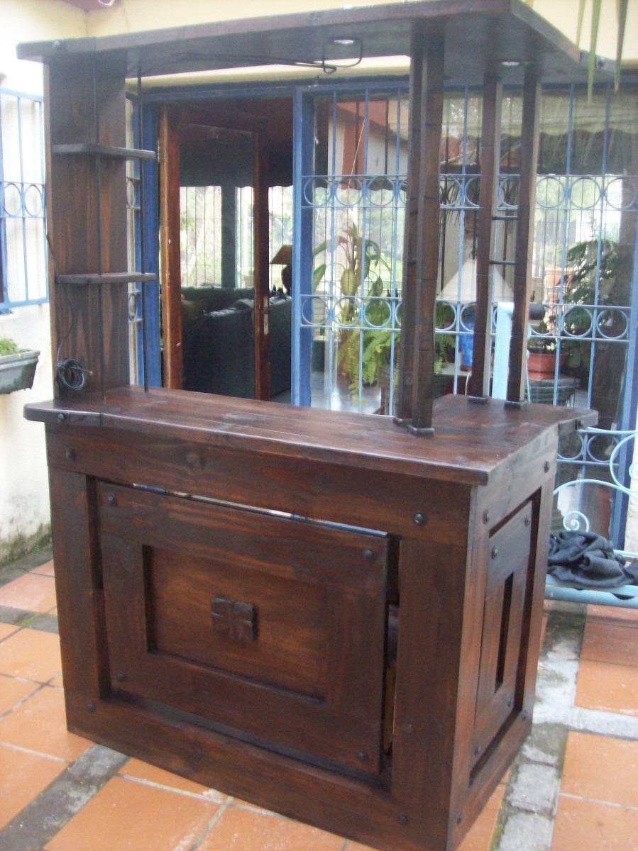 Bar en esquina c luces madera maciza c hierro for Bar de madera mercadolibre