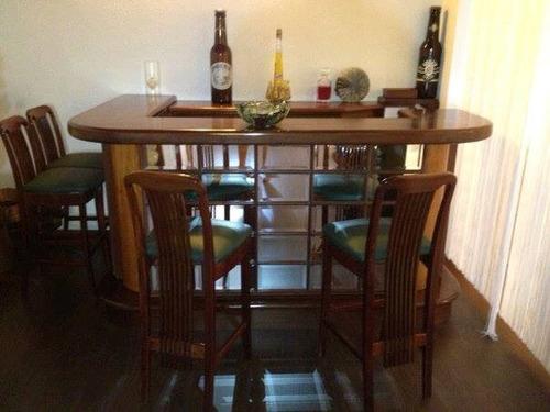 bar en madera importado incluye las sillas tapiceria de cue