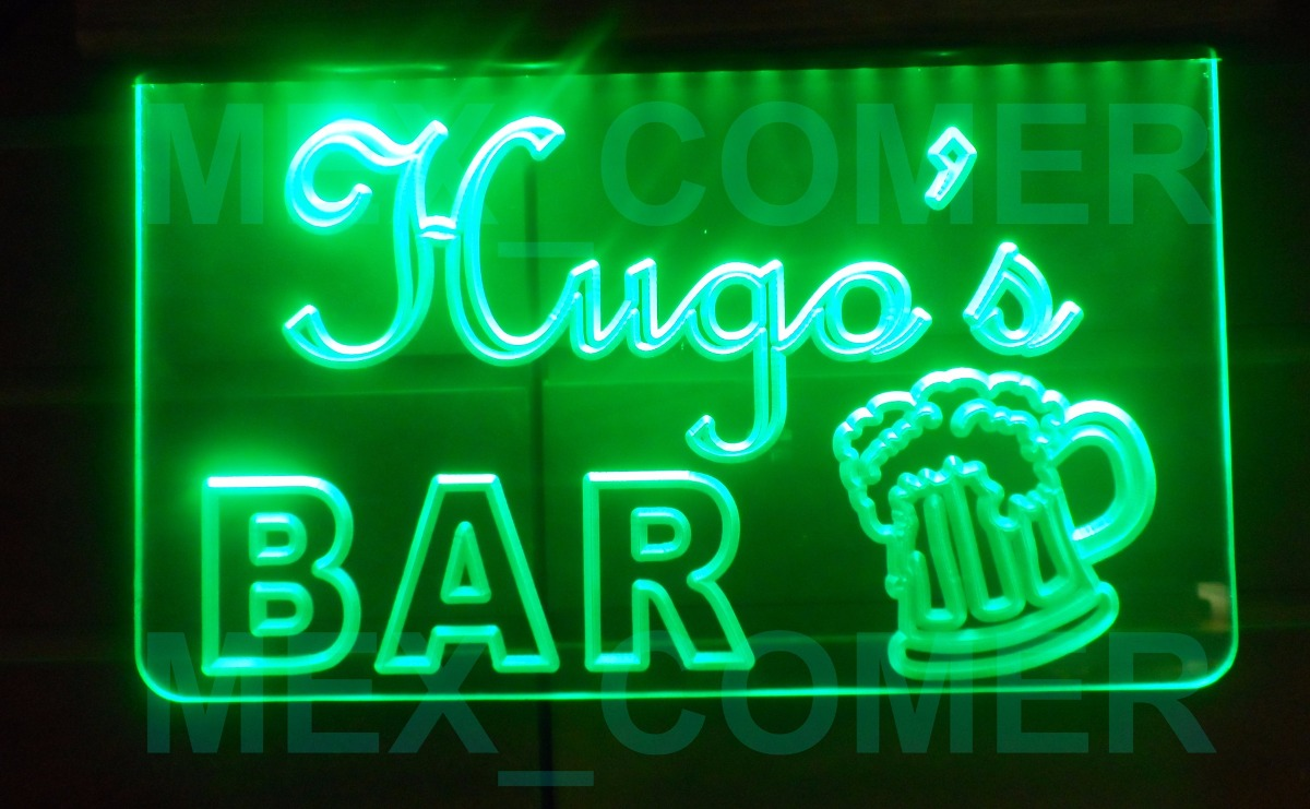 Bar letrero luminoso led acr lico anuncio perzonalizado for Bar mercado libre