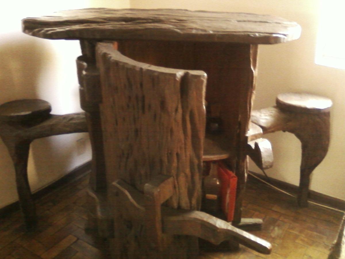 Bar r stico de madeira maci a r em mercado livre for Mobiliario rustico para bares