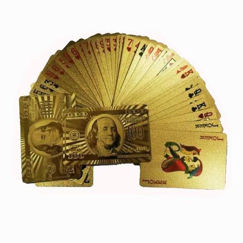 baraja de cartas en oro poker blackjack naipes envio gratis