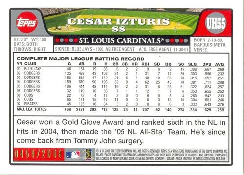 barajita cesar izturis cardinals topps 2008 # uh55