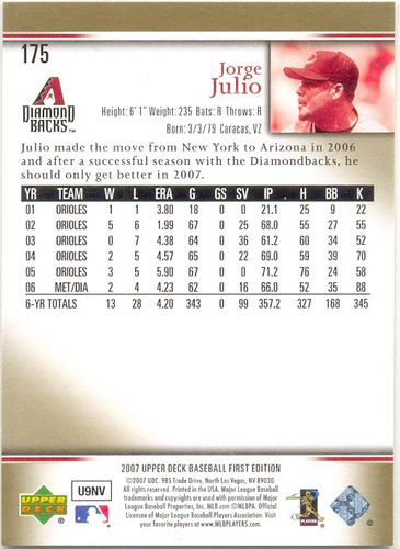 barajita jorge julio tapia diamondbacks topps 2007 # 175