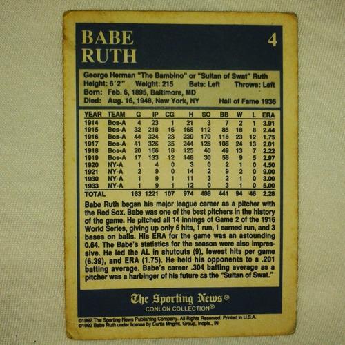 barajita o carta de coleccion babe ruth hof-1936 # 4  boston