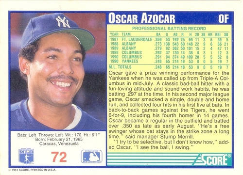 barajita oscar azocar score yankees 1991 # 72