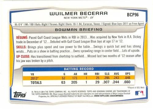 barajita wuilmer becerra mets bowman chrome 2014 # bcp96