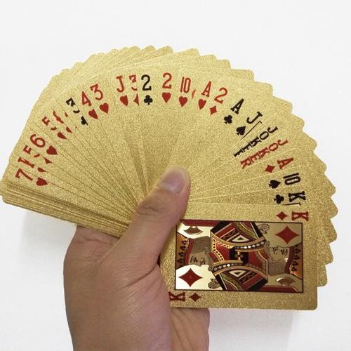 baralho banhado a ouro 24k dourado poker truco sueca cartas