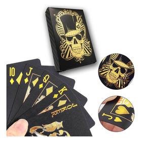 Baralho Caveira Skull Preto Dourado Gold Truco 54 Cartas