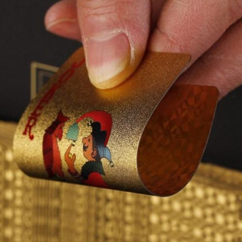 baralho dourado ouro 24k folheado poker truco cartas gold