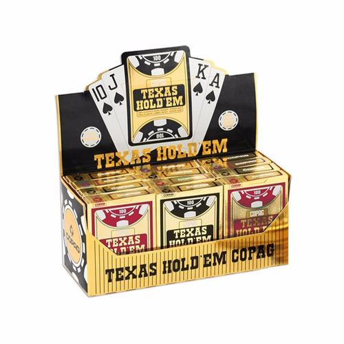 baralhos poker caixa com 12 un. copag texas holdem + brinde