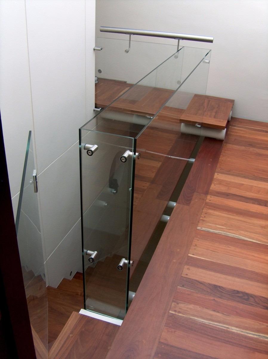 Barandal de cristal templado con pipas de acero for Pasamanos para ducha