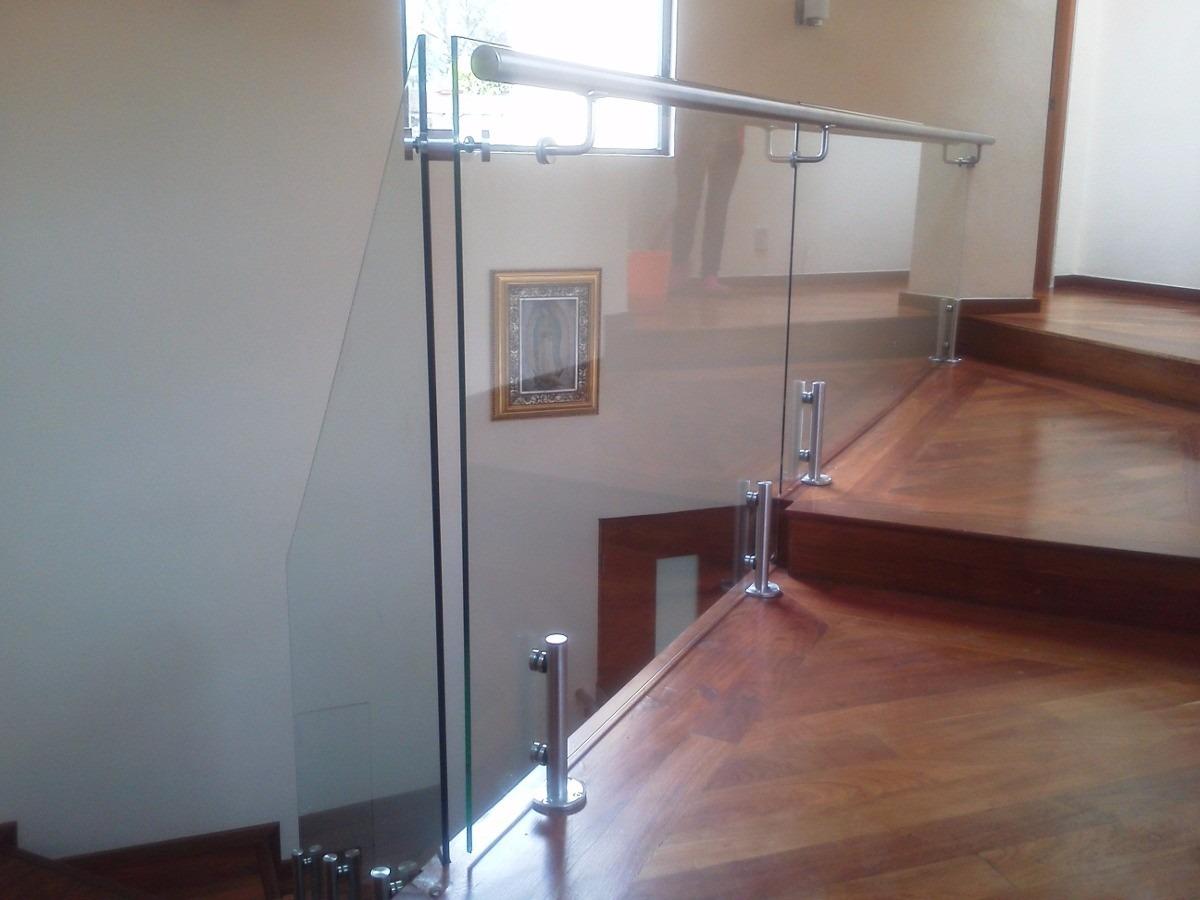 Barandal de cristal templado con poste enano de inox for Pasamanos para ducha