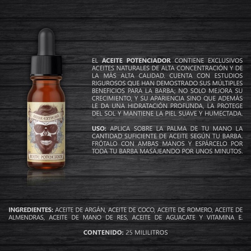 barba extrema 2 tonicos aceite pildoras jabón peinilla envío