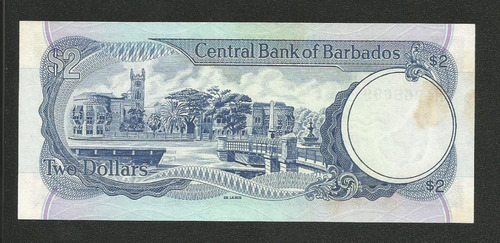 barbados 2 dollars 1980 p. 30 fe cédula c/manchas- tchequito