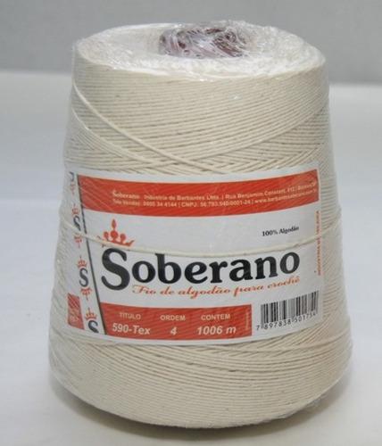 barbante soberano 1kg - cru 100% algodão nº 4 - rolo (novo)