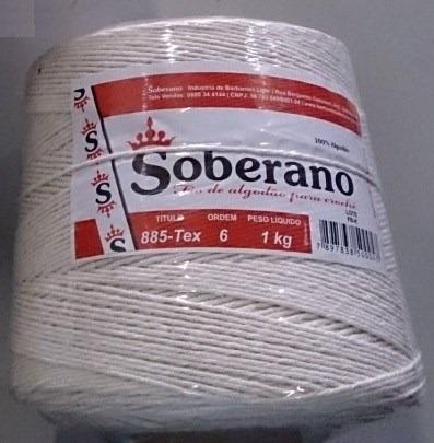barbante soberano 6 fios 1kg - cru 100% algodão - rolo novo
