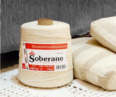 barbante soberano 8 fios 1kg - cru 100% algodão - rolo novo