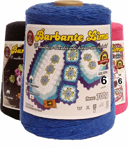 barbantes lima coloridos 700g n°6 8  -kit 12 cones + suporte