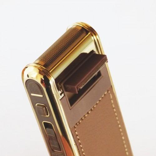 barbeador elétrico máquina shaver kemei bivolt dourado luxo