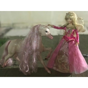 Barbie Aurora Con Caballo Rosa- Original Disney