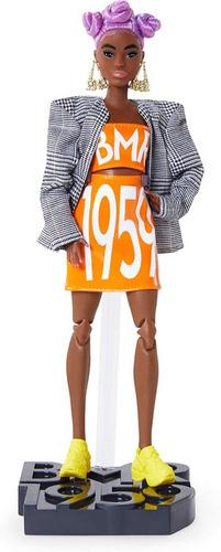 barbie bmr1959 negra curvy cabelo roxo linha 2020 articulado