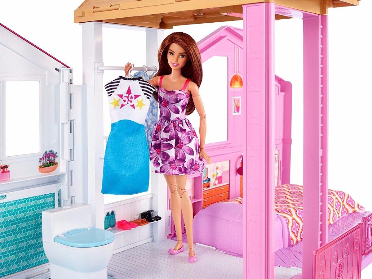 Barbie casa de campo con elevador y amueblada 90x60cm for Casa malibu barbie