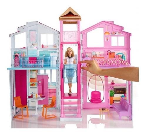 barbie casa de campo plegable con muebles y elevador mattel