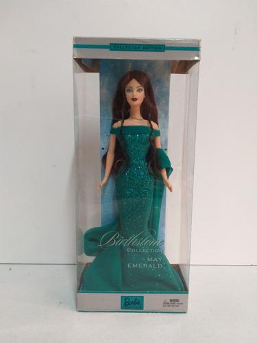 barbie collector birthday stone maio esmeralda - morena