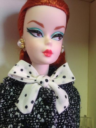 barbie collector silkstone black & white tweed suit no br