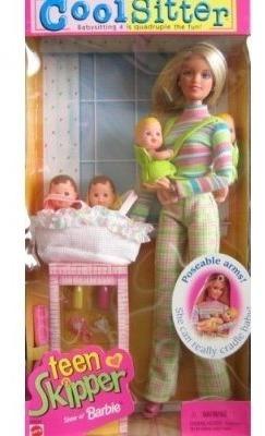 barbie - cool sitter teen skipper doll con 4 bebés cuatrilli
