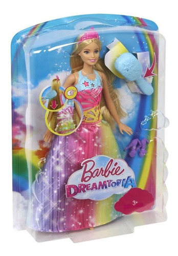 barbie dreamtopia princesa peina y brilla mattel
