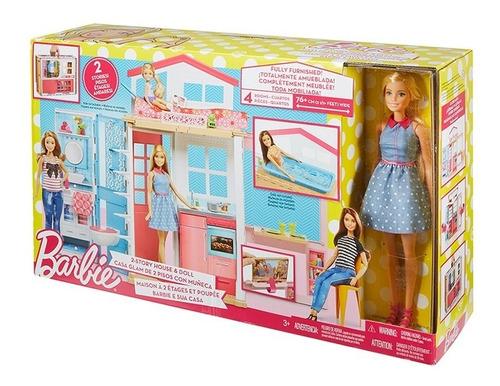 barbie estate casa glam de 2 pisos con muñeca dvv48