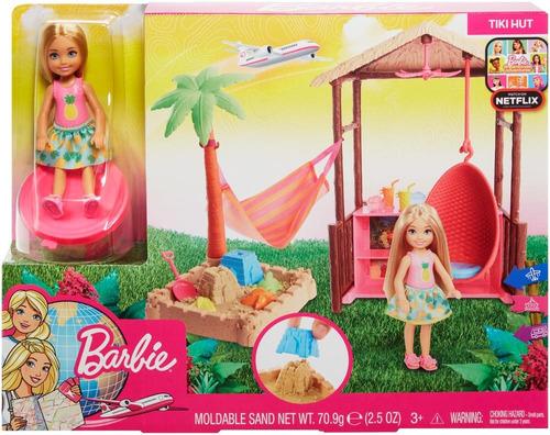 barbie explora y descubre cabaña de playa de chelsea