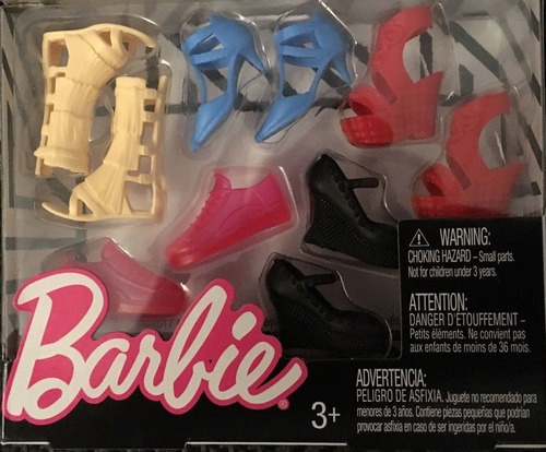 barbie fashion pack cartela acessórios 5 pares de sapatos