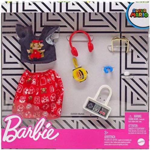 barbie fashion pack mario bros roupa lançamento 2020 cartela
