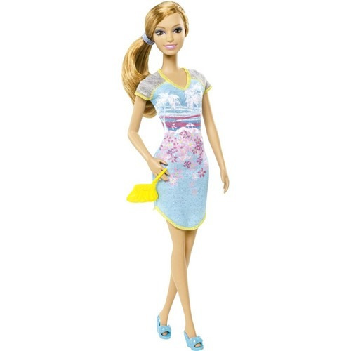barbie fashionista festa de pijama vestido azul praia mattel
