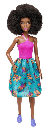 barbie fashionista pink halter floral skirt - doll 59