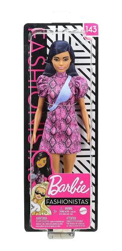 barbie fashionistas 143 vestido piton rosa cabelo azul
