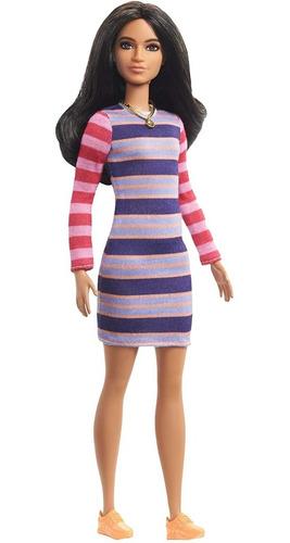 barbie fashionistas 147 morena asiática listrada