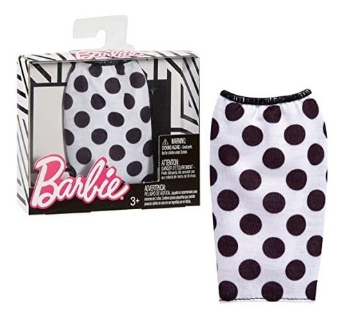 barbie fashionistas saia branco e preta bolinhas t102